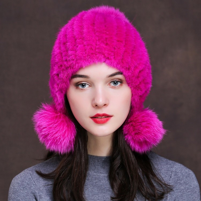 Svadilfari 2017 Limited Solid Adult Real Knitted Mink Fur Hats For Women Winter Laciness Fashion Beanie Hat Cap The High Quality