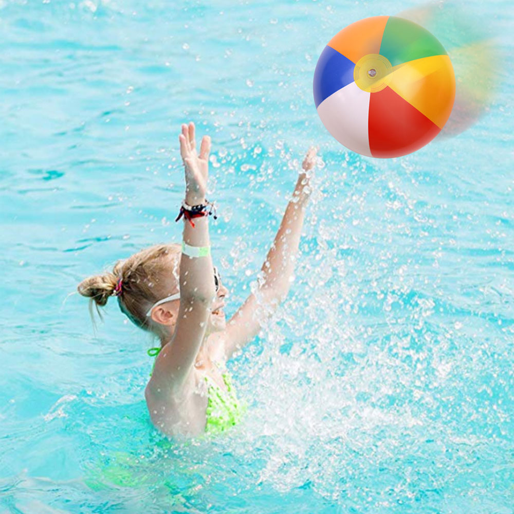 5pcs Rainbow Inflatable Beach Ball With 1pcs Hand Air Pump For Kids Children Water Games Swimming Pool Party Toys
