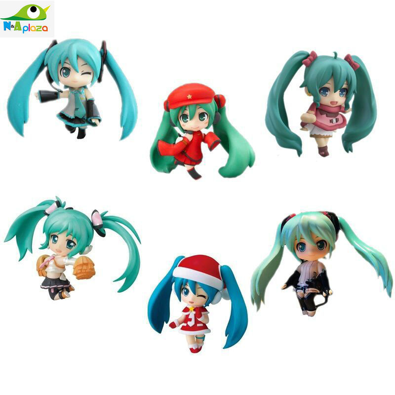 2015 New Anime VOCALOID2 Hatsune Miku Q EditionPVC action figure Model Doll kids toy10CM Free Shipping