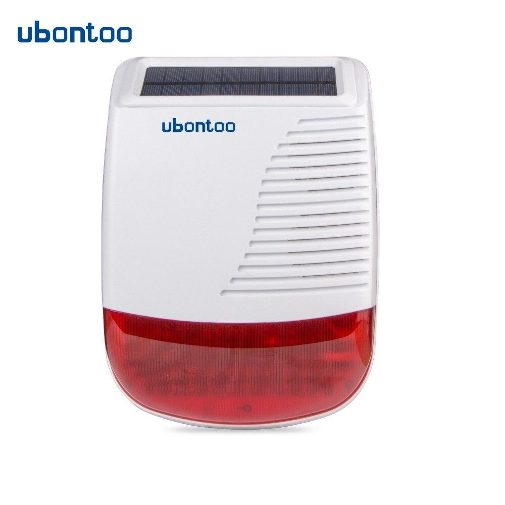 Ubontoo 433 mhz extérieure sans fil strobe sirène solaire alimenté rouge flash light 110db pour pstn wifi gsm système d'alarme maison sécurité