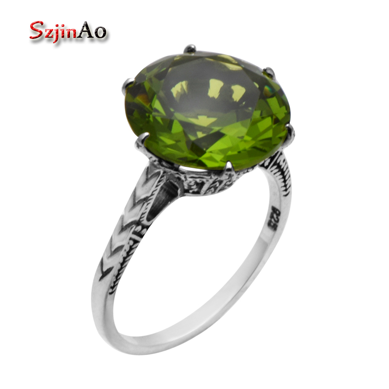 Szjinao 925 Sterling Silver Wedding Ring Bohemian Antique Jewelry High Quality 925 Sterling Silver Peridot Rings for Women