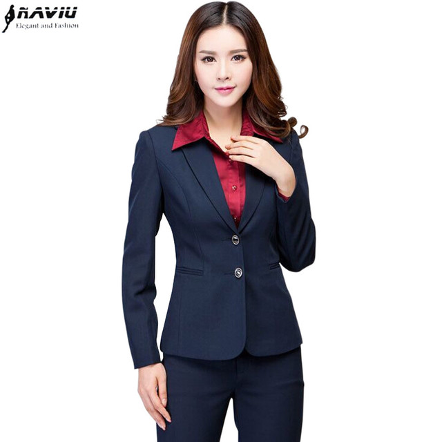 Work wear women's pants suit autumn winter long sleeve Two buttons ...