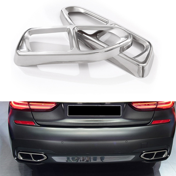 2x Rear Cylinder Exhaust Pipe Frame Cover Trim For BMW 7 Series G11 G12 2016-2018