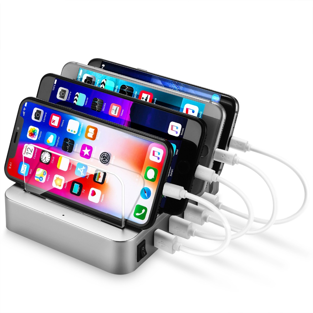 4 Ports USB Hub Universal Multi Device Charging Station Fast Charger Docking 24W for iPhone iPad Samsung Galaxy LG Tablet PC HTC-in Mobile Phone Chargers from Cellphones & Telecommunications