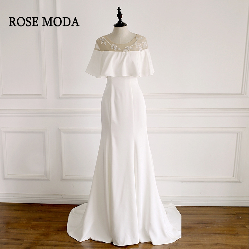 Rose Moda Simple Mermaid Wedding Dress With Cape Delicate