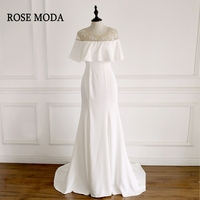 Rose Moda Simple Mermaid Wedding Dress with Cape Delicate Beaded Boho Wedding Dresses 2018 Real Photos