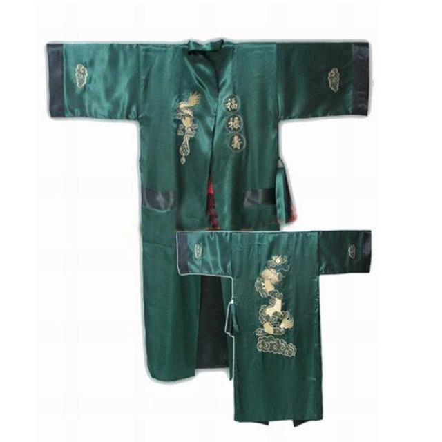Nueva Llegada Verde Negro de Seda de Los Hombres de Poliéster Reversible Albornoz Chino Tradicional Bordado Bata de Dormir Uno SizeZR38