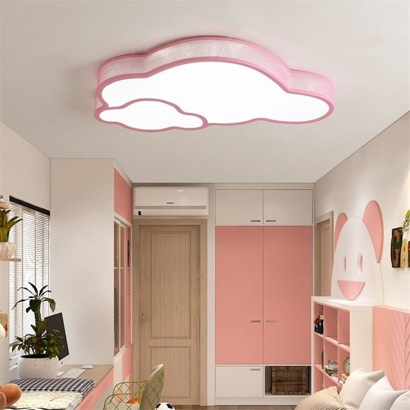 Modern Led Ceiling Light Fixture White Pink Blue Lovely Cloulds Shape Kids Room Led Ceiling Lamp with light and remote