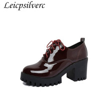 Promotional products Spring and autumn The New fashion popular root High heels Tie Pu Women's shoes Cheap goods 36-40