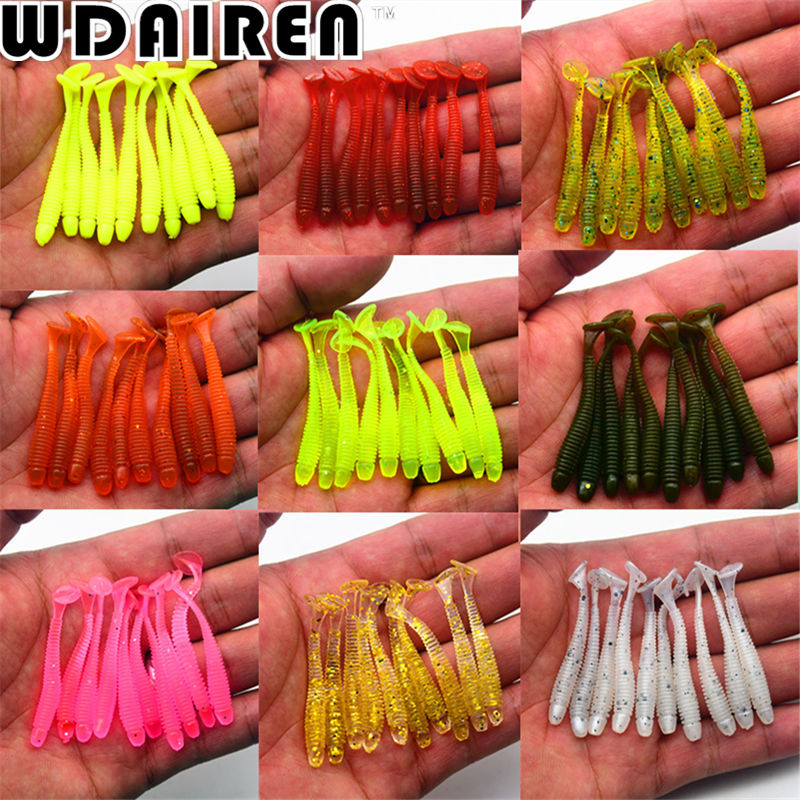 100Pcs Soft Bait 5cm 0.7g 10 Color Fishing Lure Worm Shad Silicone Baits Isca Artificial Para Pesca Leurre Peche Wobblers ST-200 20 pcs lot soft lure artificial 5cm 1 6g japan shad worm swimbaits jig head fly fishing silicon rubber fish fishing lure pesca