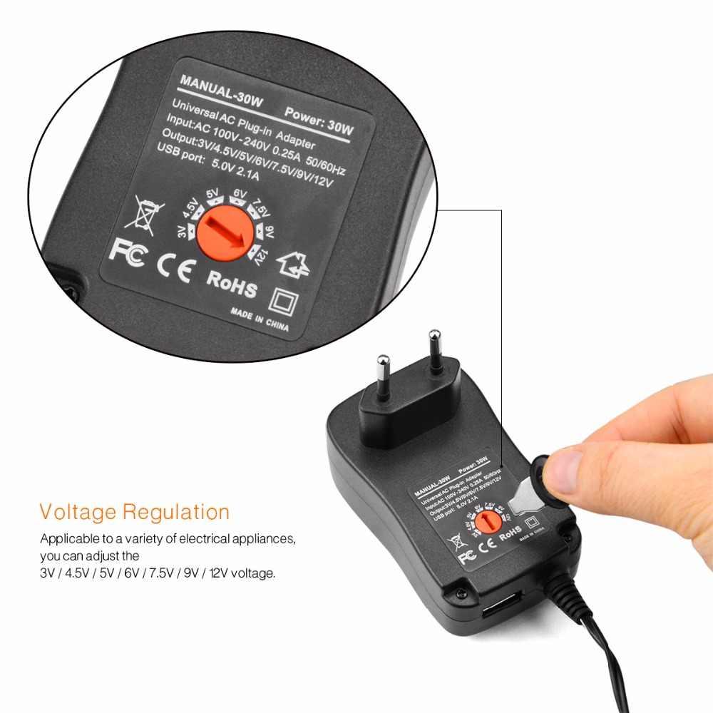 110 V 220 V трансформатор освещения 30 Вт 3 В-12 В Универсальный Зарядное устройство AC/DC адаптер переключения Питание с 6 Plug and 5 В 2,1 USB Порты и разъёмы