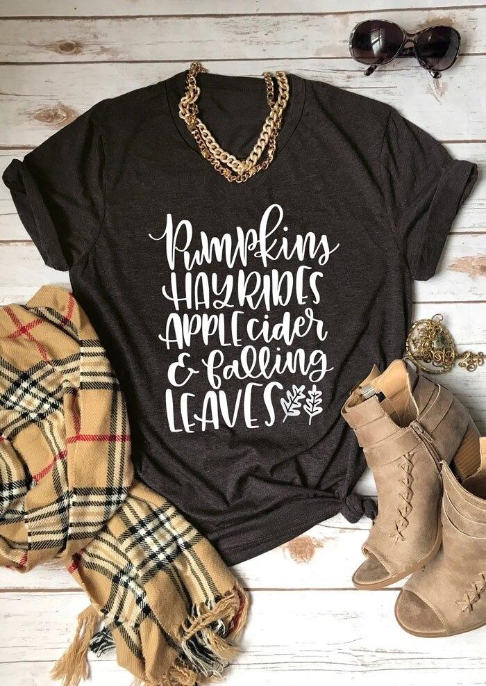 Kürbisse Hayrides Apple Cider Fallenden Blätter Hipster T-Shirt Lustige Brief Baumwolle Shirt T-stück Beiläufige Slogan Graphic Tops Outfits