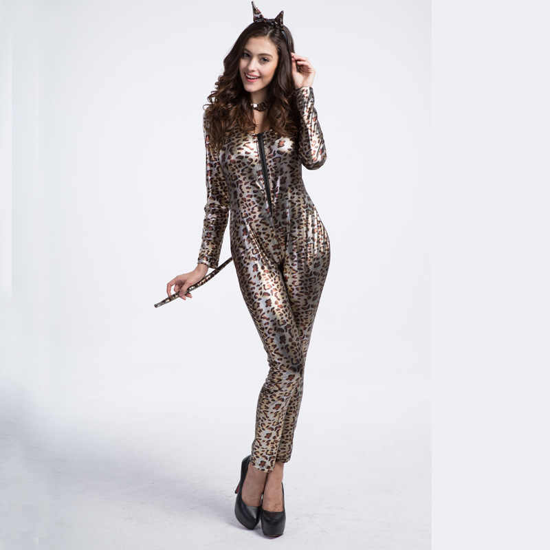 4422ad3405f Woman Sexy Animal Leopard Cosplay Jumpsuit Halloween Cosplay Costumes  Leopard Print Patent Leather Jumpsuit Carnival Deguisement