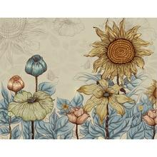 цена на Custom Sunflower living room sofa background thick wall paper Nordic non-woven wallpaper TV wall art personality creative mural