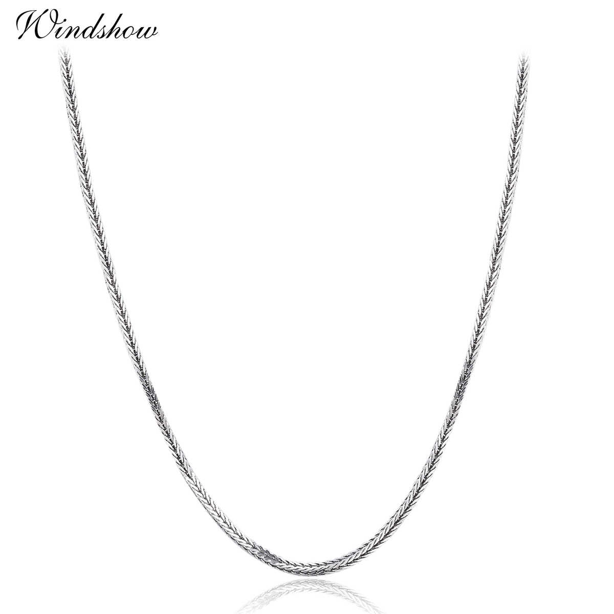 "1mm 16""-24"" 925 Sterling Silver Foxtails Chopin Chain Necklace Women Girls Italy Jewelry kolye collares collane collier ketting"