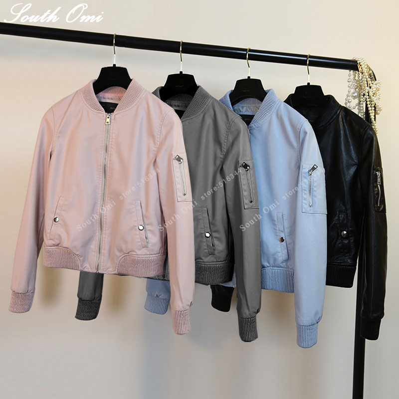 New Leather Bomber Jacket Women Pink blue Black Jacket bomber jackets ladies zipper PU baseball blouson