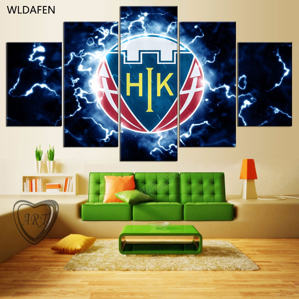 5 Pieces Sports Team Deco Fans Posters Oil Painting On Canvas Modern Home Pictures Prints Decor Living Room PH4-1752