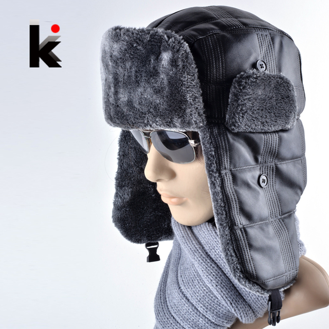 2017 Nuovo cuoio cap cofano mens inverno caldo cappello di pelliccia russia  tappi di neve paraorecchie 97474db29e99