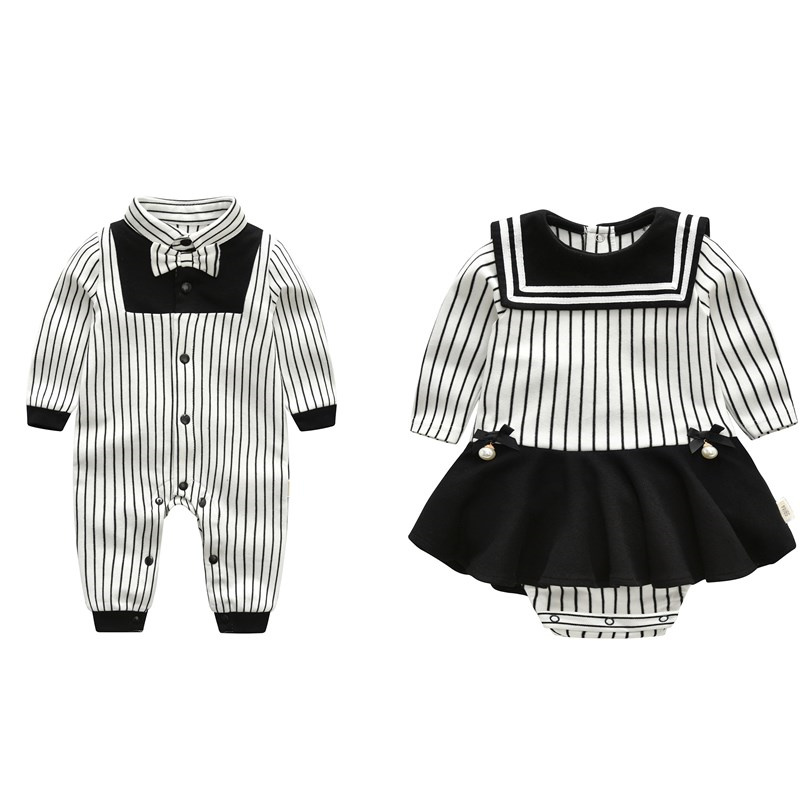 2018 New Fashion Brands Baby Twins Romper Unisex Cotton Long Sleeve Newborn Brother&Sister Clothes Jumpsuit Infant Clothing Set 2016 baby boys girls romper bamboo print toddler long sleeve infant clothing rompers fashion cotton unisex zipper romper
