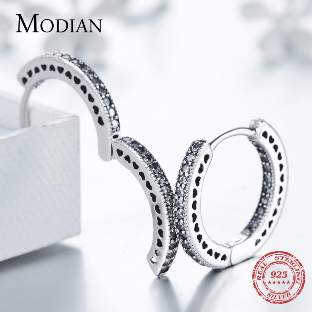 Modian Real 925 Sterling Silver Classic Full Hearts Hoop Earrings Luxury Cubic Zirconia Fashion Jewelry For Women Wedding Gift 2