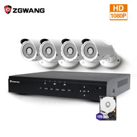 ZGWANG 2MP 4CH POE NVR Wifi Security Outdoor IP Camera Bullet Security Alarm System Night Vision