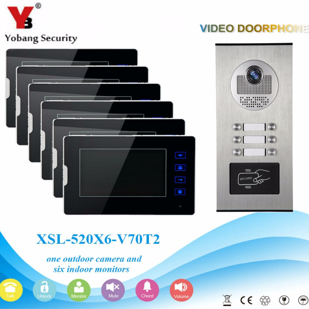 YobangSecurity 1 Camera 6 Monitor Video Intercom 7Inch Video Door Phone Doorbell Chime RFID Access Control For Home Security new 7 inch color video door phone bell doorbell intercom camera monitor night vision home security access control