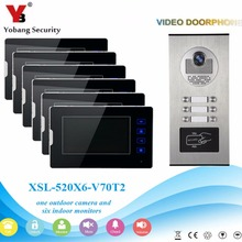 YobangSecurity 1 Camera 6 Monitor Video Intercom 7″Inch Video Door Phone Doorbell Chime RFID Access Control For Home Security