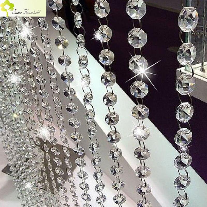 Decorativo europeo Tende In Cucina Divisore Tenda Fatta Di Perline di Cristallo Per La tenda di Finestra del Soggiorno Door Passage Sfondo