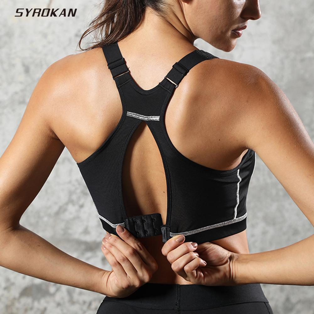 SYROKAN Women's High Impact Padded Supportive Wirefree Full Coverage Sports Bra