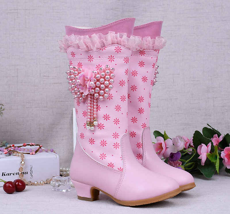 cbb6b0851ef Νέα κορίτσια χειμώνα χιόνι υψηλό μπότες παιδιά PU δερμάτινα μπότες ...