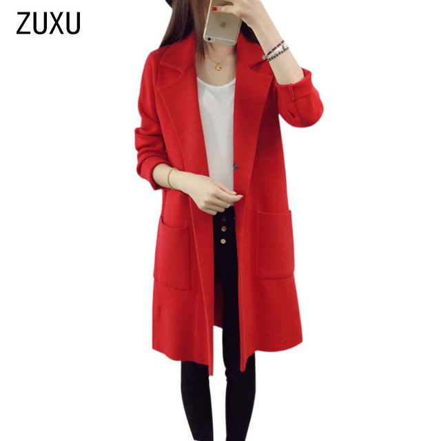 218f7594ff7 2017 Winter Long Sweater Coat for Women Turn Down Formal Long Cardigans  Christmas Sweaters Oversized Coat Knitted camisola
