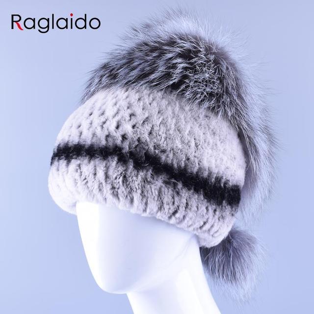 Female Winter Fur Hat Natural Genuine Real Rex Rabbit Beanie Hat with Fox Fur Tops Ball Accessory High Quality Women Cap LQ11154