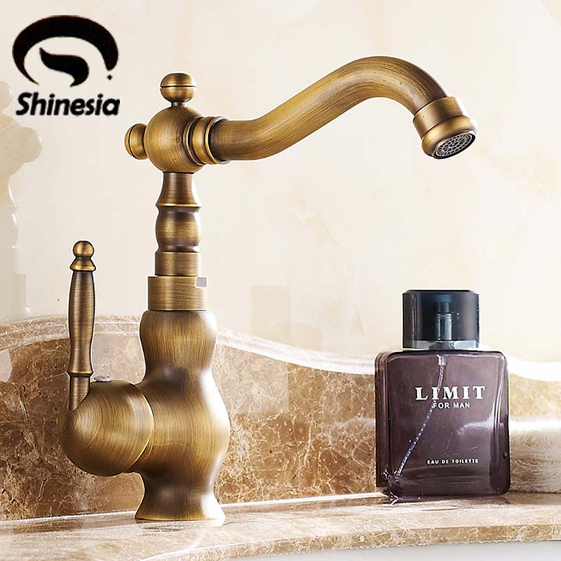 все цены на Retro Style Swivel Spout Bathroom Sink Mixer Taps Single Handle Antique Brass Basin Sink Faucet One Hole онлайн