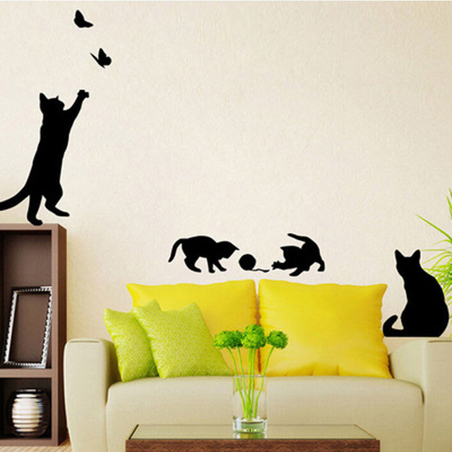 1 Set Cute Cat play Butterflies Wall Sticker Removable Decoration ...