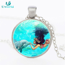 Charming Moana Princess Cartoon Pendant Locket Statement Necklace Gift Jewelry 4 Colors Girls Anime Chain Collares Ornament