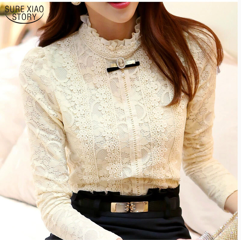 2018 Nya Hot Women Toppar Dam Kläder Mode Blusas Femininas Blusar & Skjortor Fleece Women Crochet Blouse Lace Shirt 999