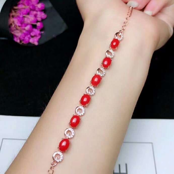 shilovem 925 sterling silver real Natural red coral Bracelets fine Jewelry women trendy open 5*7mm party  gift yhl050701agsh