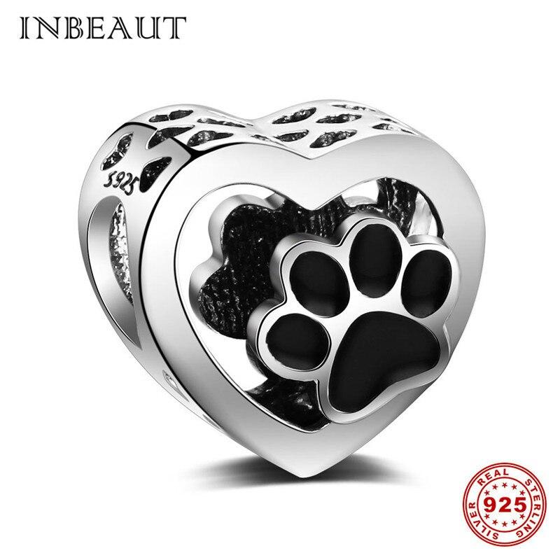 INBEAUT fit Pandora Charms Bracelet Silver Original 925 Cute Black Enamel Bear Paw Beads Women 2018 Lovely Pet Jewelry Making