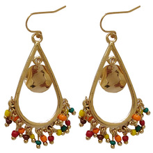 National Jewelry Multi Small Colorful Beads Yellow Red Green Drop Earrings For Woman Gift
