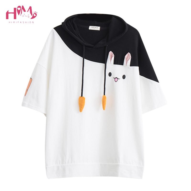Japanese Harajuku Female Lovely Pink Rabbit T Shirts 2019 Cute Carrot Short Sleeve Anime Bunny Tee Tops Mori Girl Kawaii T-Shirt