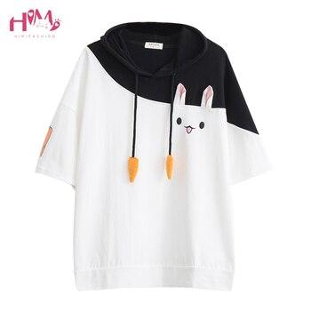 Japanese Harajuku Female Lovely Pink Rabbit T Shirts 2020 Cute Carrot Short Sleeve Anime Bunny Tee Tops Mori Girl Kawaii T-Shirt