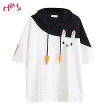 05b1650bef7 Japanese Summer Female Lovely Pink Rabbit T Shirts 2018 Cute Carrot Short  Sleeve Anime Bunny Tee Tops Mori Girl Kawaii T Shirt