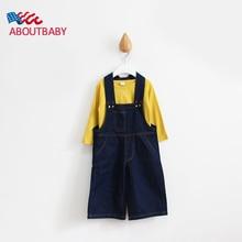 Boys Girls Jumpsuits Overalls Fashion Wide Leg Pants Cool Kids Clothings Hemming Baby Denim Jumpsuits Children Jeans Pants