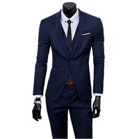 3 Pieces Sets Blazers Jacket Pants Vest Suits / Boutique Men's Casual Business Wedding Groom Suit Coat Trousers Waistcoat