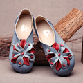 2017 summer genuine leather women flats casual  shoes national style comfortable soft bottom pregnant women shoes size 35-41