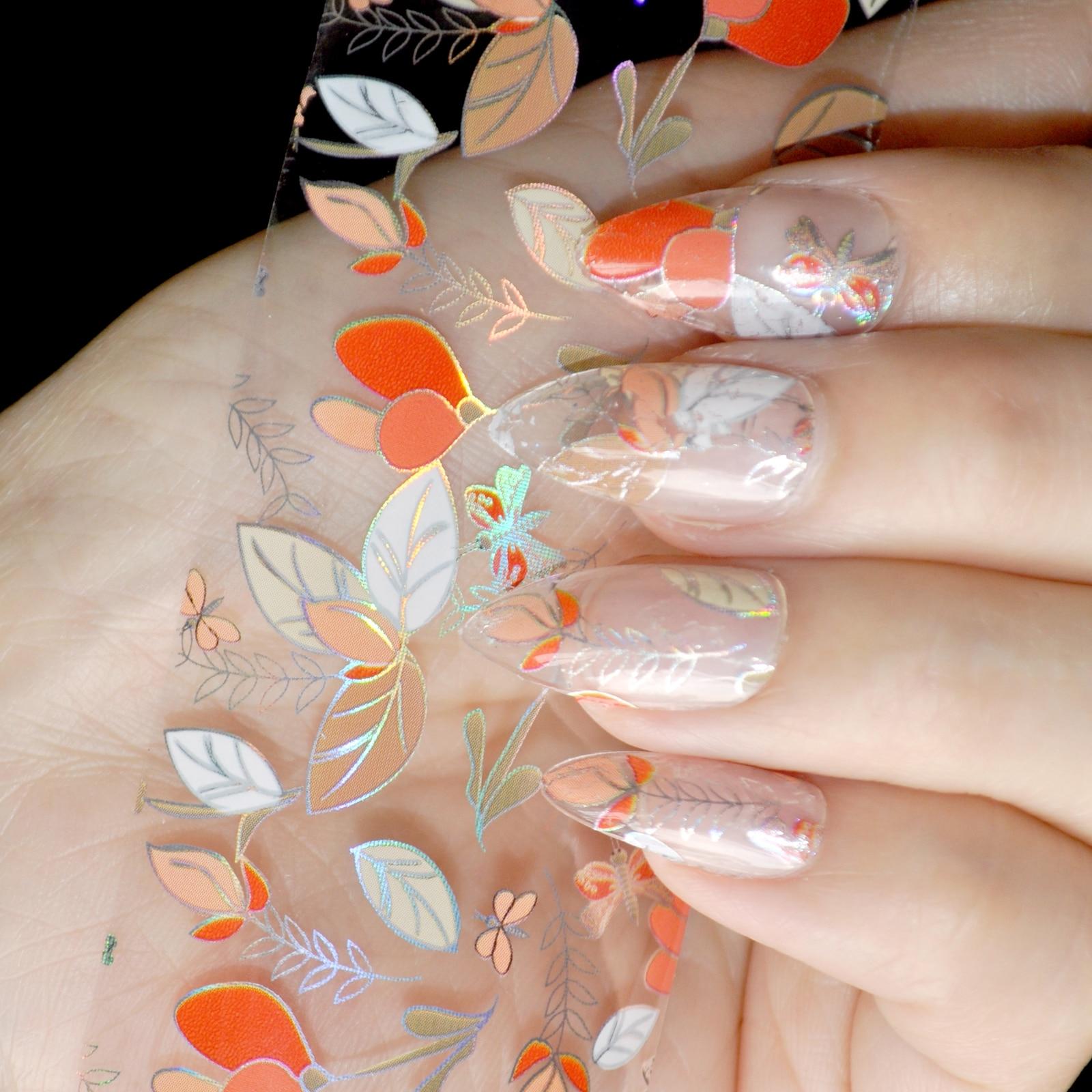 100cm x 4cm Laser Colorful Leaves Nail Art Transfer Foils Orange Leaf Dragonfly Decal Tip Glue Polish Sticker DIY Manicure Tools orange lily flowers nail art transfer foils nail sticker decal tip decoration diy manicure tools 439