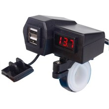 XUNMA Multi function Car or  motorcycle USB vehicle charger voltage meter matching switch
