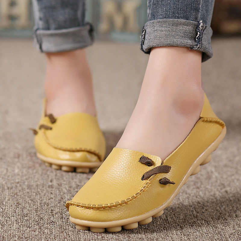 2019 Spring Summer Flats Women Plus Size 34-44 Genuine Leather Shoes Women Soft Nurse Loafers For Women Driver Chaussures Femme