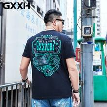 GXXH размера плюс 7XL 6XL 8XL футболка больших размеров Мужская Уличная футболка с коротким рукавом с принтом свободные мужские летние повседневные футболки