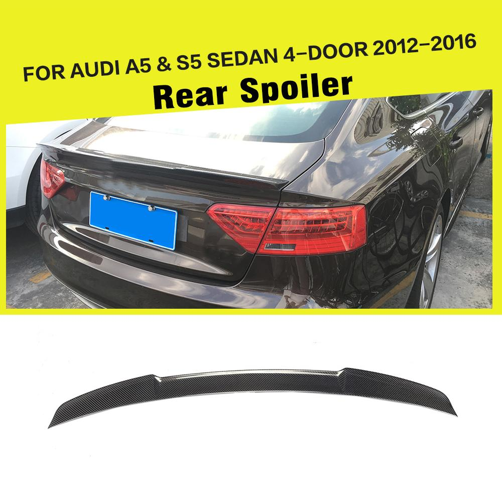 Car-Styling Carbon Fiber / FRP Auto Racing Rear Trunk Spoiler Boot Lip Wing for Audi A5 S5 Sline Sedan 4-Door 2012 - 2016 image
